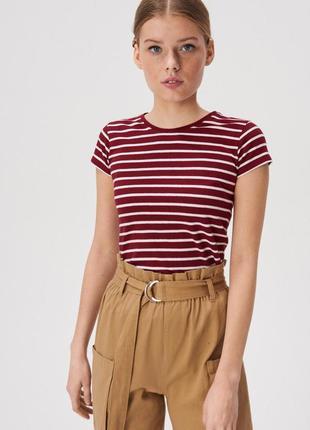 Новая полосатая бордовая футболка темно-красная полоска белая ...