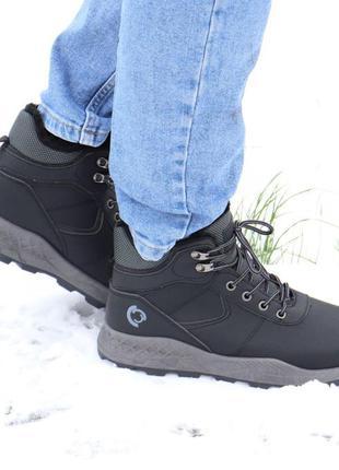 Мужские ботинки зимние черные с мехом. размер 42
