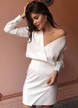 Белое нарядное платье короткое
