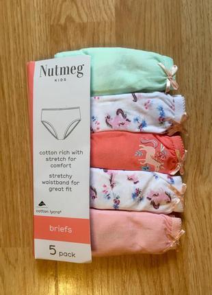 Трусы, трусики для девочки nutmeg, англия, набор трусов 5 шт, ...