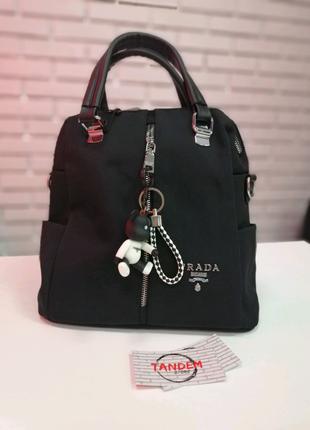 Женская сумка-рюкзак текстиль черная