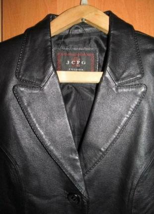 Стильный кожаный женский пиджак