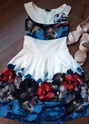 Яркое платье с цветами и пышной юбкой palmetto размер s-m