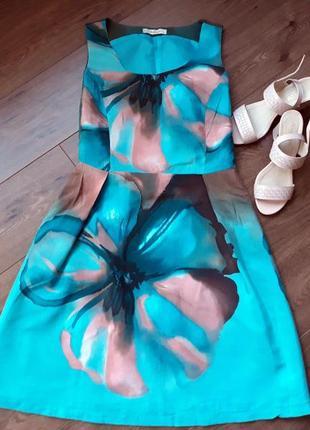 Платье с цветочным принтом ниже колена с поясом размер s-m