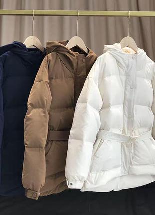 Куртка пуховик с поясом