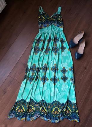 Летящее платье в пол с принтом размер xl