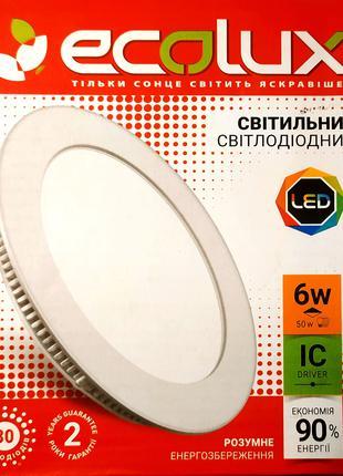 Светодиодный светильник круглый встраиваемый 6 Вт Ecolux LED