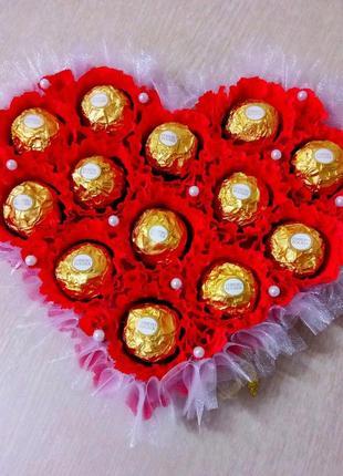Букет из конфет. Сердце с конфетами.