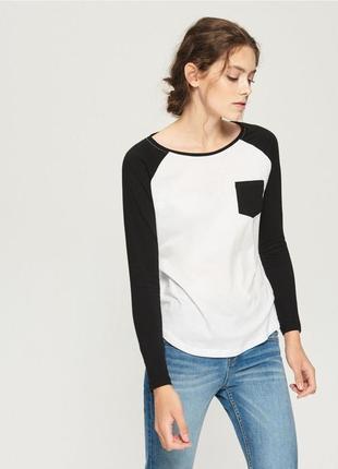 Новая белая кофта лонгслив блузка sinsay черные рукава карман ...