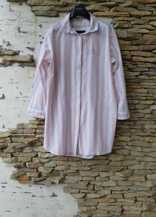 Стильное котоновое в пудровую полоску платье 👗 рубашка большог...