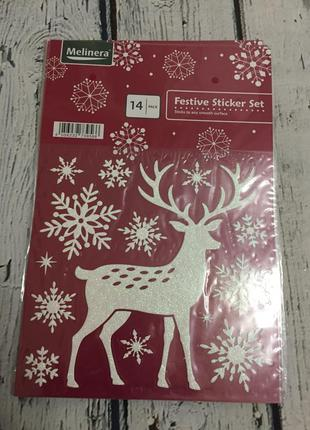 Новогодние многоразовые наклейки стикеры олени снежинки melinera