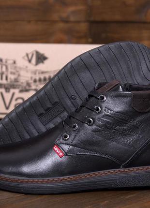 Мужские зимние кожаные ботинки levis stage  black