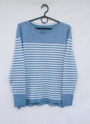 Осенний свитер в полоску из вискозы с длинным рукавом