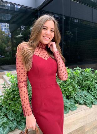 Платье длинное в горошек с сеткой облегающее
