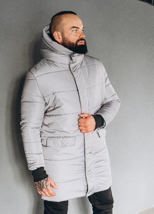 Зимняя серая мужская парка, куртка удлиненная