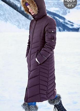 Теплая длинная куртка пальто пуховик eddie bauer