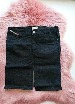 Джинсовая юбка-карандаш миди с разрезом спереди diesel (к003)