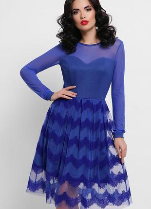 Платье цвета электрик с сеткой