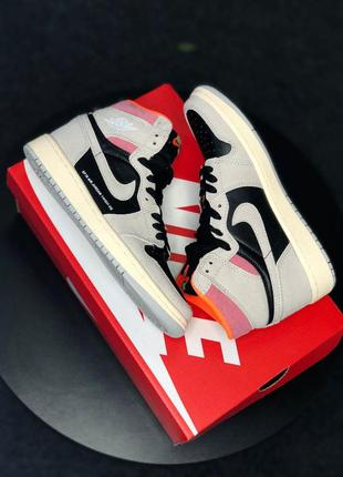 Кроссовки nike air jordan retro high neutral grey hyper crimson