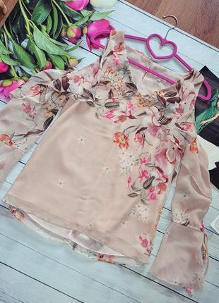 Шикарная блуза в цветы с открытыми плечами river island