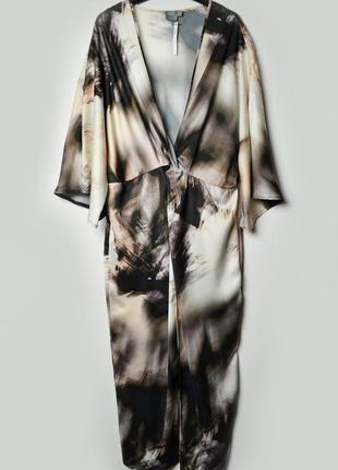 Длинное платье с абстрактным принтом asos