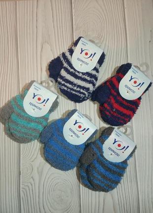 Теплые пушистые рукавички варежки для малышей