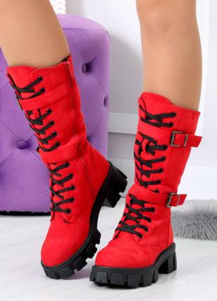 ❤ женские красные зимние ботинки ботильоны ❤