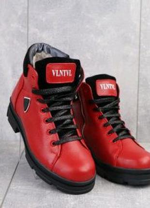 Женские ботинки кожаные зимние красные BENZ 71204