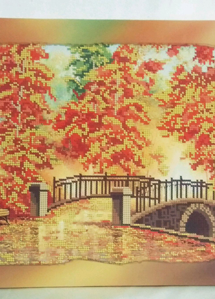 Холст =Золотая осень= на подрамнике для вышивки бисером 30 х 40 с