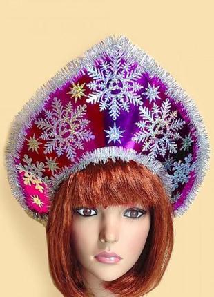 Карнавальный кокошник для костюма зимы снежинки