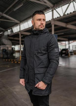 Мужская зимняя черная длинная куртка дортмунд 🆕 теплая куртка ...