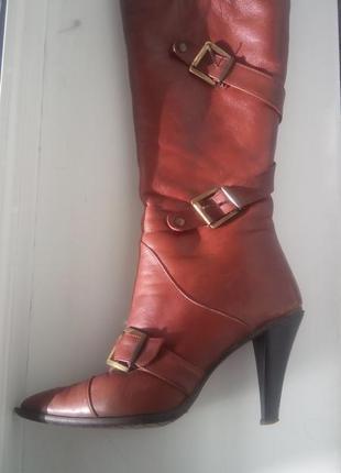 Рыжие кожаные сапоги carvari европейка