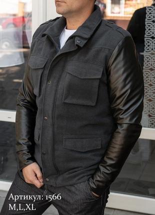 Мужская утепленная куртка с кожаными рукавами