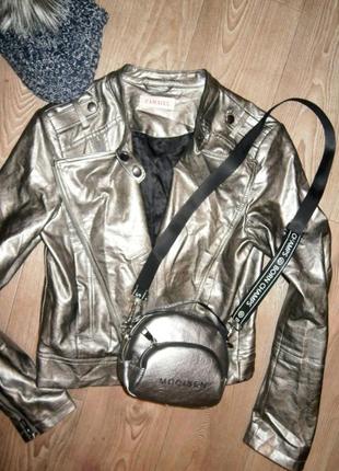 Куртка косуха серый металлик серебро