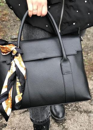 Женская кожаная сумка с платком италия вместительная сумка дел...