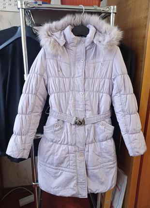 Красивый теплый пуховик зимняя куртка black&red на девочку 9-1...