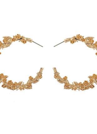 Сережки кругі, серьги кольца, сережки під золото, трендові мас...