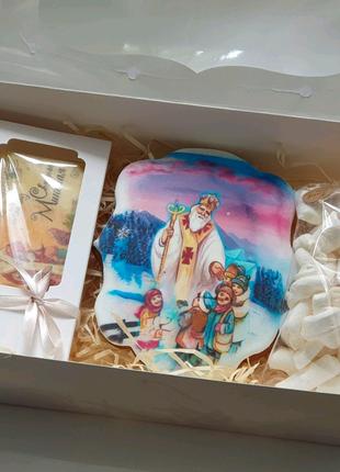 Новогодний подарочный набор, шоколад, маршмеллоу