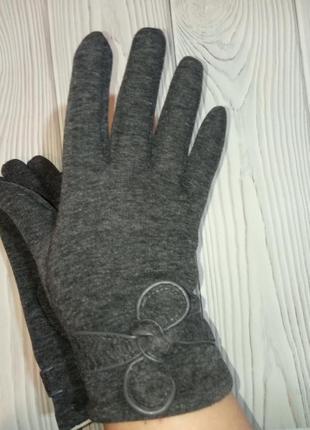 Теплые женские трикотажные перчатки рукавицы