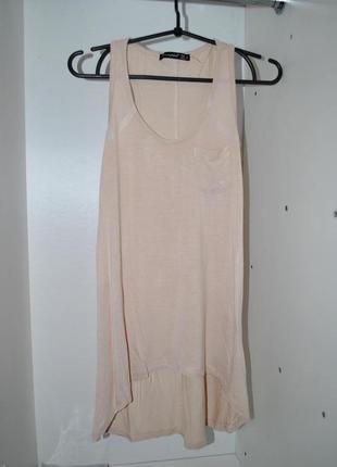 Майка женская пудровая удлиненная s стильная модная под брюки ...