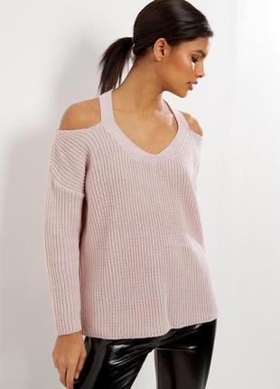 Актуальный розовый джемпер свитер с открытыми плечами №59 new ...