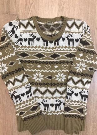 Новогодний теплый женский свитер с узором terranova размер s
