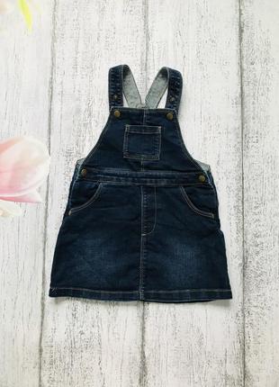 Крутой джинсовый сарафан платье m&s 9-12мес