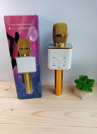 Беспроводной bluetooth караоке микрофон DM Q7 Karaoke Gold