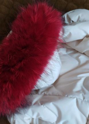 Опушка на капюшон енот натуральный мех меховой воротник