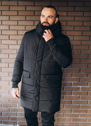 Мужская черная зимняя парка, удлиненная куртка