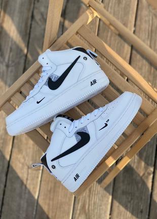 Кроссовки Nike Air Force High White (мех)