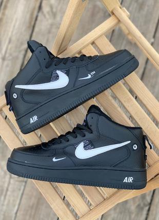 Кроссовки Nike Air Force High Black (мех)
