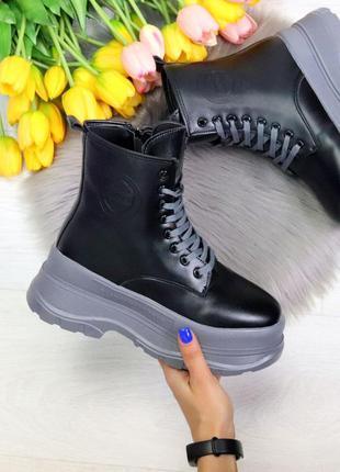 Зимние женские ботинки на толстой подошве