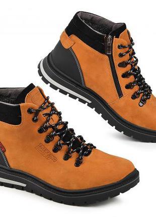 Мужские ботинки, натуральная кожа+мех